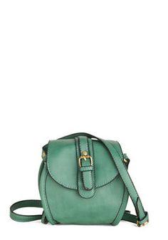 Gleeful Gatherer Bag, round shape, muted evergreen hue, and black trim, vegan faux-leather shoulder bag