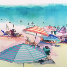 Going to the beach with my family is one of my favorite things to do. This is an unframed print of an original watercolor, gouache and charcoal drawing of a beach scene at Laguna Beach in Southern California. The paintings main colors are aqua blue, peach, lavender, coral and citron yellow. I love the watery texture of the paint, and the delicate details of the charcoal drawing. The print is a giclee and is printed on smooth, matte archival paper and will look amazing for 150 years! This…