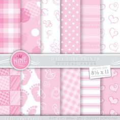 Digital Paper BABY GIRL Pattern Prints Instant por MNINEDESIGNS