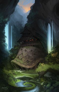 Waterfalls, Giant Shell and a Dragon Tail, Stoyan Stoyanov on ArtStation at http://www.artstation.com/artwork/waterfalls-giant-shell-and-a-dragon-tail