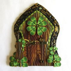 Celtic Fairy Door Fiddle Pixie Portal Leprechaun Door by Claybykim