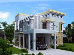 PLAN DESCRIPTION Amolo is a 5 bedroom two storey house plan that can be built in a 297 sq. lot having a frontage width minimum of meters maintaining at least 2 meters on both sides of the h… Two Storey House Plans, 2 Storey House Design, Small House Design, Small Cottage Designs, 5 Bedroom House Plans, Model House Plan, Box Houses, Story House, Home Design Plans