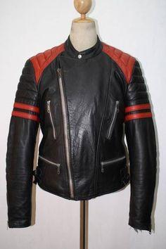 Vtg SPORTEC Motorcycle Padded Leather Jacket CAFE RACER Medium