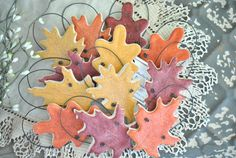 Fall Wedding Favors Autumn Leaves Set of by cookiedoughcreations