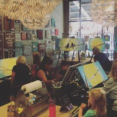 """We are having a blast with our first partner Vino and Canvas event! This """"Family Tree"""" workshop with @vinoandcanvas is happening now! #partnerpainting #partnerpaintingclass #vinoandcanvas #miniandme #canvaspainting #pinspriationaz #canvasart #familytree #phoenix #scottsdale #workshop #dateday #motherdaughter #motherson"""