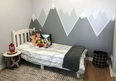 Simple DIY Mountain Wall Mural is part of Simple Diy Mountain Wall Mural To Fro Creating the perfect toddler bedroom, including a simple DIY mountain wall mural with help from the Home Depot Canada - Bedroom Themes, Bedroom Wall, Bedroom Decor, Nursery Decor, Modern Master Bedroom, Kids Wall Decor, Wall Decorations, Home And Deco, Boy Room