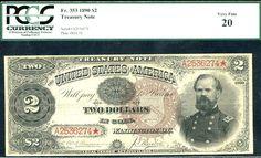 1890, $2 FR-353 Large Size Treasury PCGS 20-RARE