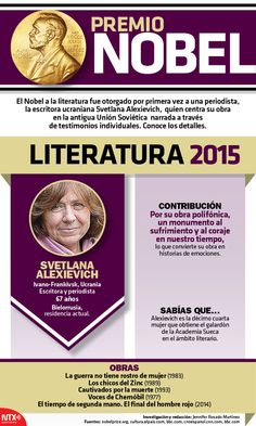 Conoce a #SvetlanaAlexievich, la primera periodista en ganar el #PremioNobelDeLiteratura. #Infographic