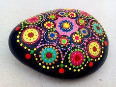 Handpainted Stone Dots Circles Mandala by ColorBakalito on Etsy