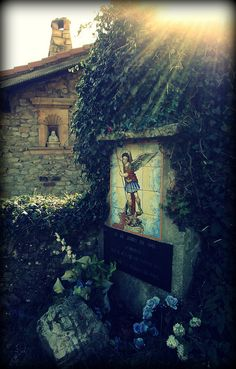 """""""The Archangel at Garabandal -- This image of St. Michael marks the spot where the Archangel is said to have appeared to three children in San Sebastian de Garabandal, a tiny village in northern Spain, in the early 1960s. The setting for the visions and the content of these messages from God bear a great similiarity to those at Fatima.This station is the first of many along the steep climb up the mountain to the lonely thicket Pines, beneath which the children are said to have seen Our…"""