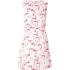 Red Valentino flamingo sleeveless shift dress (6.645 ARS) ❤ liked on Polyvore featuring dresses, white circle skirt, sleeveless dress, white flared skirt, white dresses and white day dress