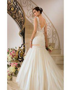 Sweep Släp Tyll Ärmlös Billiga Bröllopsklänningar