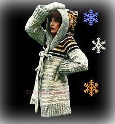 CROCHET Hooded Sweater PATTERN Crochet Mittens Set Pattern