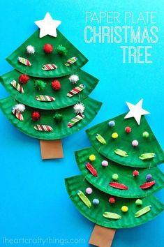 Spaß pappteller weihnachtsbaum handwerk für kinder, vorschule Weihnachten handwerk, Chris ... - Weihnachts Handwerk DIY