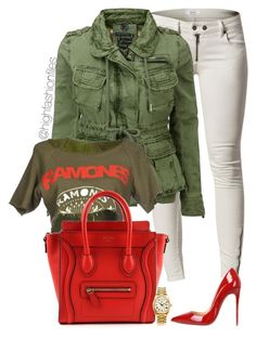 """Ramones"" by highfashionfiles ❤ liked on Polyvore featuring Issue 1.3, Superdry, Oscar de la Renta, CÉLINE, Christian Louboutin and Rolex"