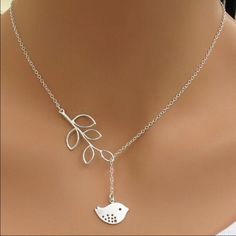 Bird & Leaf Necklace This cute & simple Silvertone necklace can be adjusted to fit your style! Jewelry Necklaces