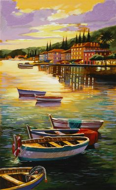 Colourful Rowing Boats Anchored At Bay As The Tide Rolls Away~ Park West Gallery