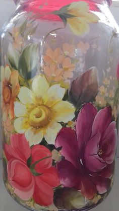 Decoupage Vintage, Recycled Glass Bottles, Wine Bottles, At Home Workout Plan, Mason Jars, Glass Vase, Recycling, Creative, Painting