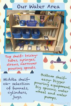 Our newly levelled water area explaining what's on each shelf Eyfs Classroom, Classroom Layout, Classroom Organisation, Outdoor Classroom, Classroom Design, Outdoor School, Classroom Ideas, Play Based Learning, Learning Spaces