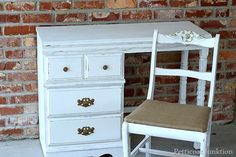 desk makeover in white with spray painted hardware to match burlap chair seat. petticoat junktion  #burlap #white
