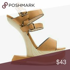 """COMING SOON! Camel Strappy Wedge - Heel: 6"""", Platform: 2""""  - Adjustable Buckle To Side Fastening Shoes Wedges"""