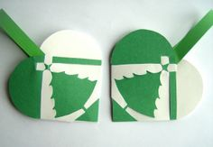 SET OF 2 Christmas Tree Woven Heart Decoration or Christmas Ornament Nordic Scandinavian Traditional Paper Julehjerter