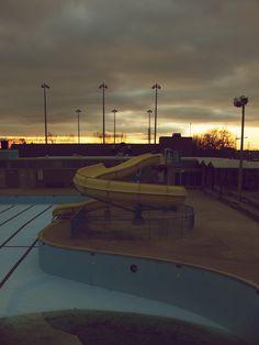 Empty swimming pool.