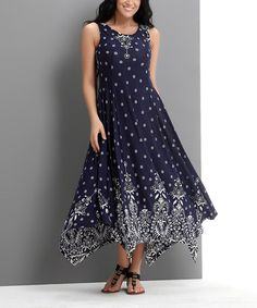 1b4f220da2 Look what I found on #zulily! Navy Suzani Sleeveless Handkerchief Maxi  Dress - Plus
