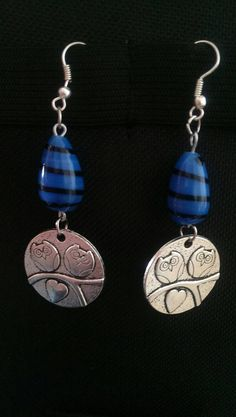 This item is unavailable Owl Charms, Blue Beads, Bead Earrings, My Etsy Shop, Charmed, Trending Outfits, Crochet, Unique Jewelry, Handmade Gifts