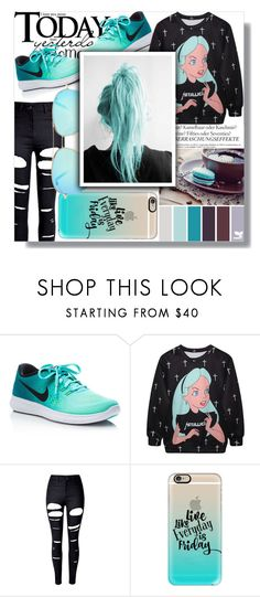 """Don't Fall Asleep At The Helm!"" by isabeldizova ❤ liked on Polyvore featuring Melissa, NIKE, WithChic, Casetify, Victoria Beckham, black, Blue, casualoutfit and newchic"