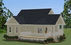Compact Cottage with Country Kitchen - 46267LA thumb - 02 Small Cottage House Plans, Cottage Style Homes, Cottage Plan, House Plans And More, Best House Plans, House Floor Plans, Cozy Family Rooms, Interior Modern, Country Kitchen