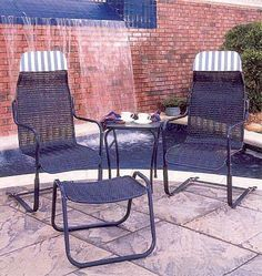 Vintage Lloyd Loom mesh wicker chair mid century patio bounce metal
