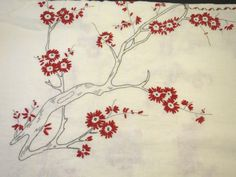White Linen Tablecloth 50 x 71 inches Embroidered Tree Branches Pattern Oriental Asian Influence Red Black Rectangular Tablecloth