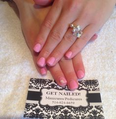 Pink nails with heart nail art