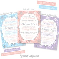 Winter ONEderland Invitation Girl - Blush Pink Silver Glitter Aqua Blue Purple Snowflakes - First Birthday 1st Bday - Printed Party Invites by SprinkledDesigns.com
