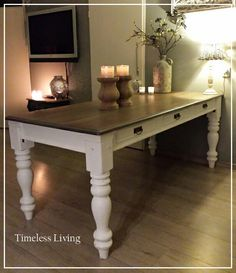Landelijk white & grey wash eettafel ☆ Timeless-Living