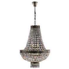 French-Empire-6-Light-Antique-Bronze-Finish-and-Clear-Crystal-Basket-Chandelier
