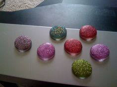 Glitter magnets! Holy messy!! These were fun but such a mess!! Total cost was under $5!
