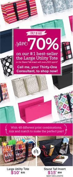 Thirty-One Gifts – Save 70% in May! #ThirtyOneGifts #ThirtyOne #Monogramming #Organization #May2017Special #LargeUtilityTote #StandTallInsert