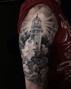 Lighthouse tattoo  #blackandwhite #tattoo #sleeve #fullsleeve  Tatuador: Yuri Despotopoulos { @yurird  http://facebook.com/mahatattoo