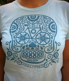 Lady's Bicycle Sugarskull - Shirt from cricketpress etsy shop