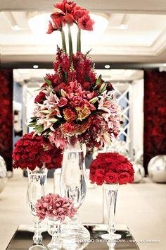Striking red floral arrangements