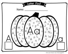Fall Pumpkin Alphabet Letter Find - Upper and lowercase by PlanningPlaytime