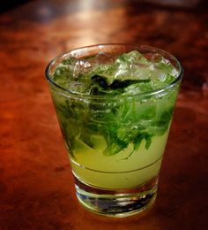 Billy's A Team - Inspired by Moneyball, this refreshing herbal drink gets it's money-green hue from muddled mint and basil.