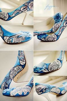 Figgie Shoes - Lauras one of a kind something blue: Among the details incorporated into the design, meaningful words and phrases, something to symbolize the radio station where they work (nd met), Jays favourite baseball team, hockey and figure skates, significant dates in their relationship, a box of chocolates with Princess written on them (Jays nickname for Laura), and one of Lauras most-used-in-reference-to-Jay sayings, You make