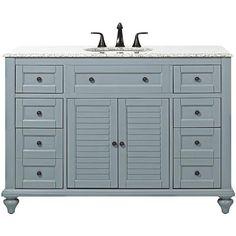 """Hamilton 49""""W Shutter Bath Vanity:  Sea Glass cabinet with grey granite countertop"""