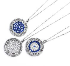 925 Sterling silver Greek mati evil eye necklace with rhodium finish. A delicate lucky eye symbol that sparkles with high grade simulated diamond and sapphire stones. You will shine every time you wear this lucky eye necklace. It can be adjusted both 16.53 inch (42cm) or 17.51 inch (44.50cm)  with the additional extender chain. Evil Eye Necklace, Disc Necklace, Pendant Necklace, Greek Evil Eye, Eye Symbol, Sapphire Stone, Greek Key, Sparkles, Delicate