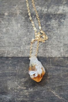 Raw Citrine Necklace, Gold and Citrine Pendant, Long Necklace, Layering Necklace, Boho Stone Necklace