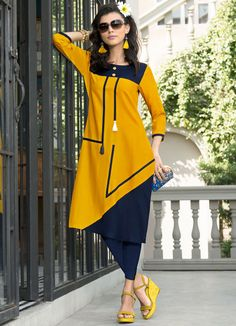 Golden Yellow and Navy Blue Premium Rayon Calf Kurti
