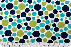 Blue/green Bubble Dot Cuddle midnight/kiwi Shannon Fabric plush by the metre